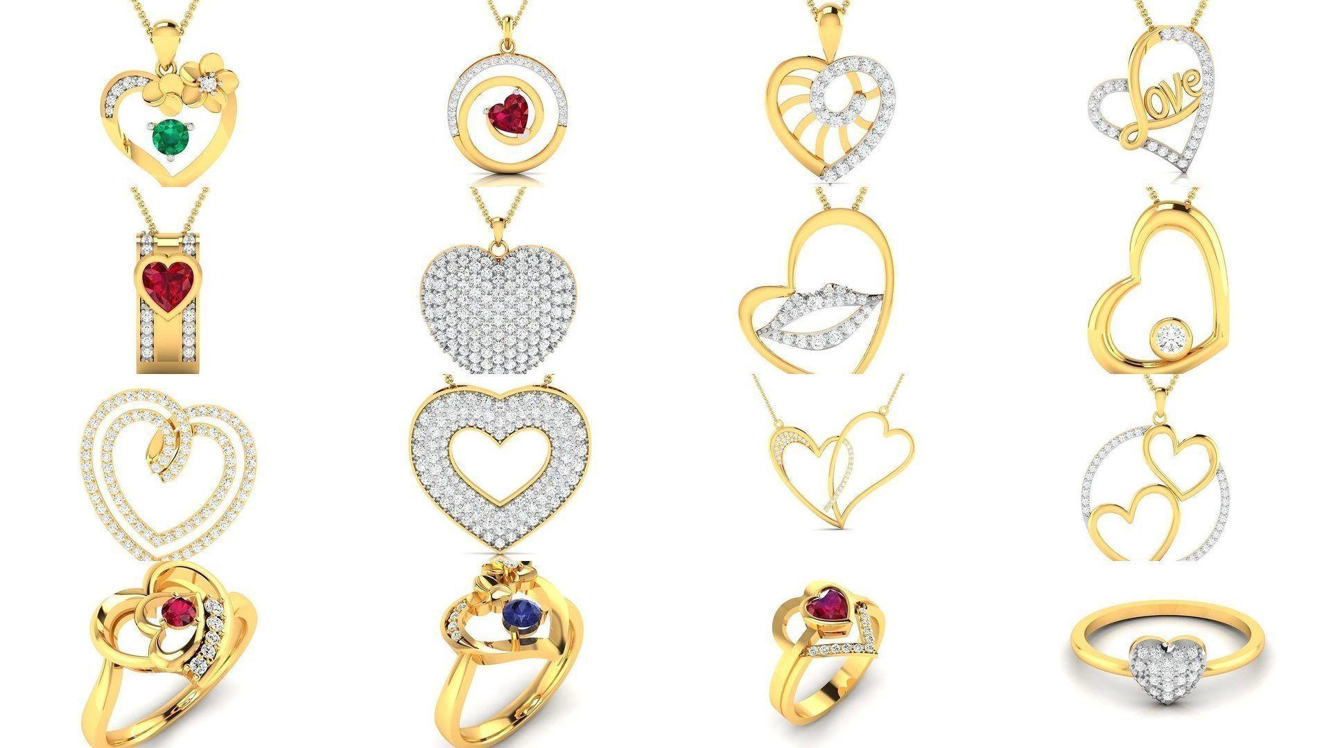 201 Love valentine ring earrings pendant 3dm render details