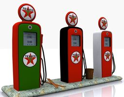 gas pump texaco 3d model low-poly