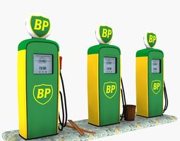 3d asset game-ready gas pump bp