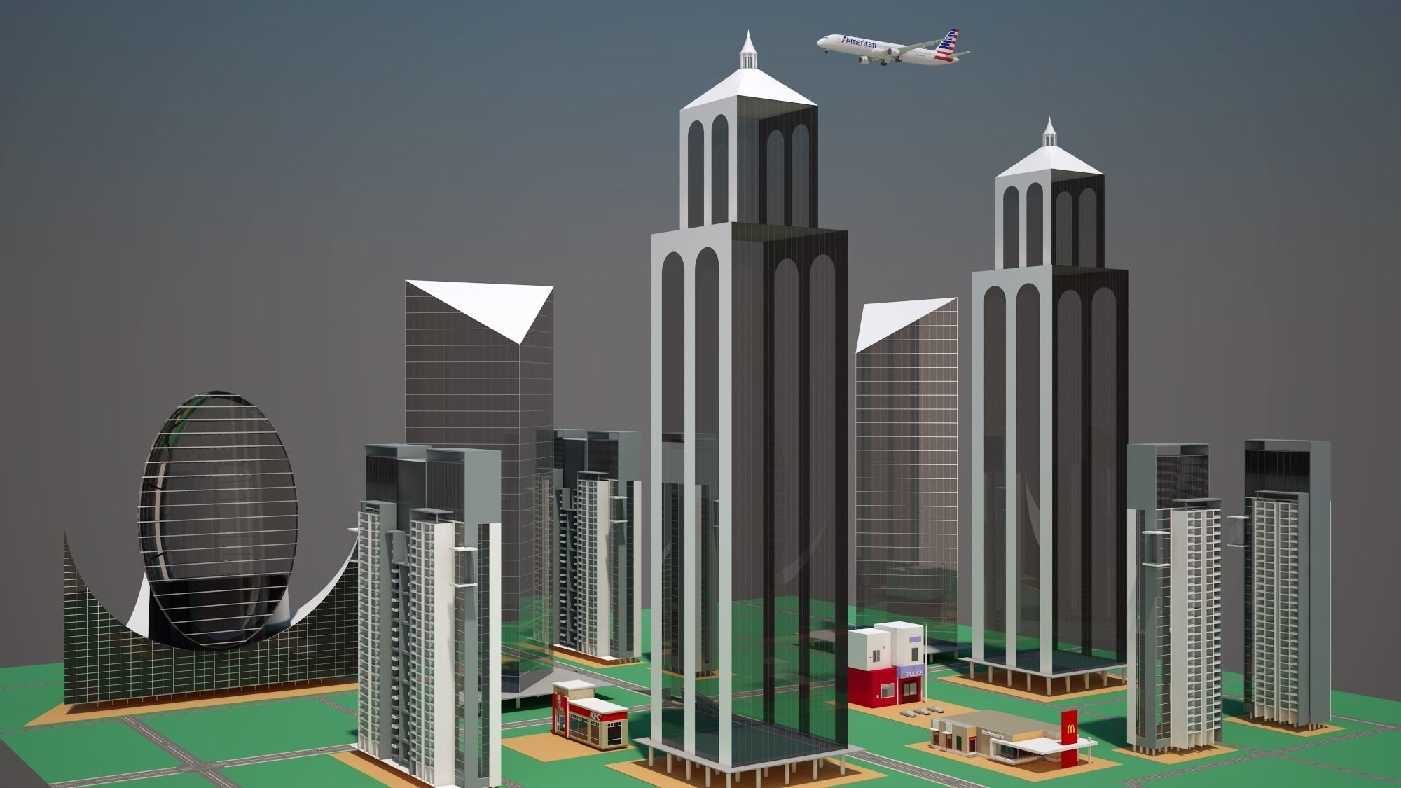 Part of a City with Animated Aircraft