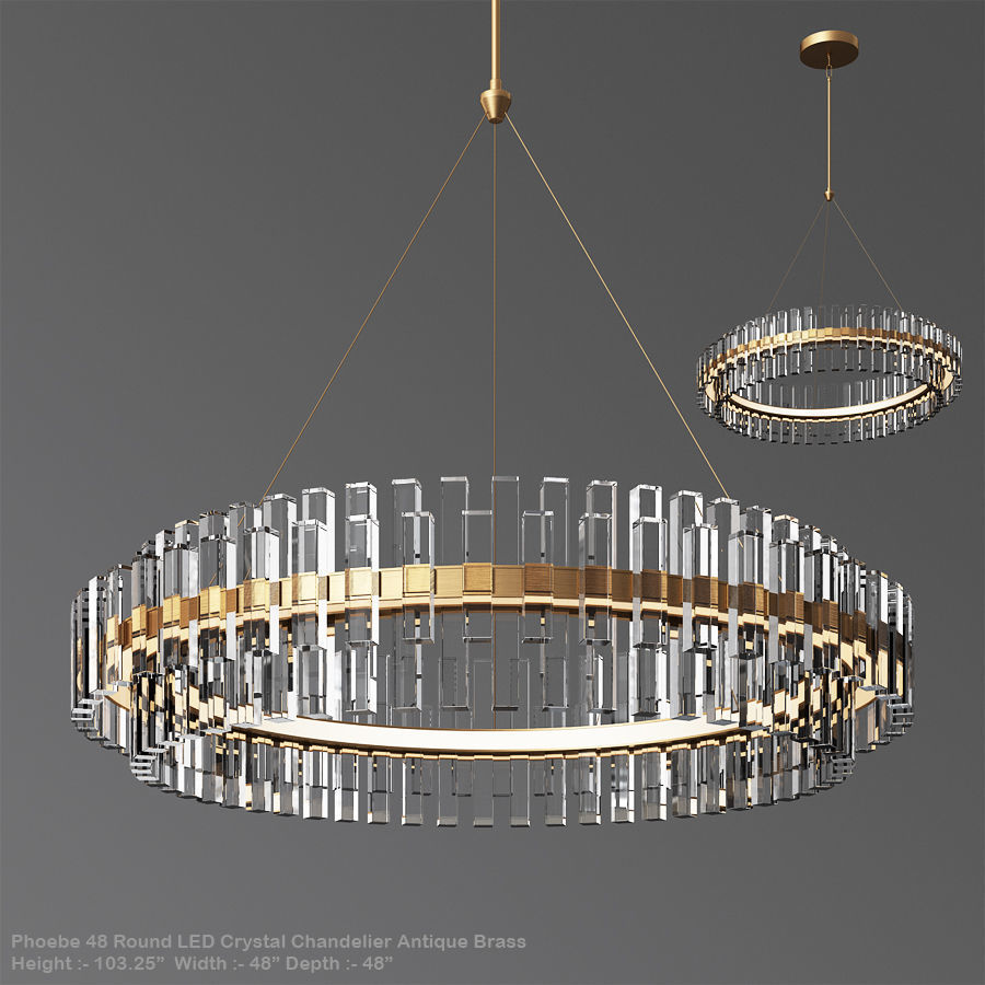 Phoebe 48 Round LED Crystal Chandelier Antique Brass