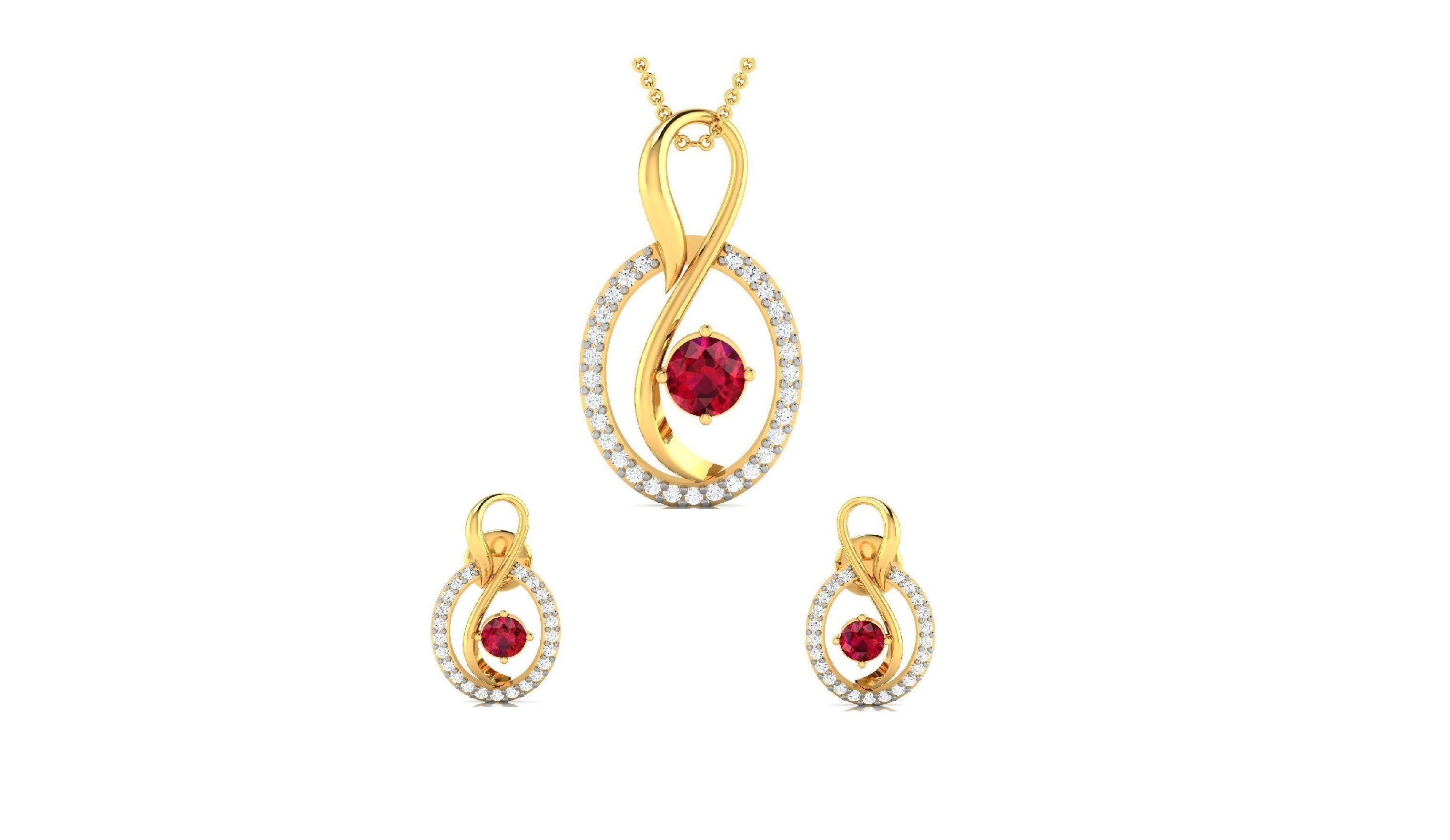 Women pendant-earrings set 3dm render detail