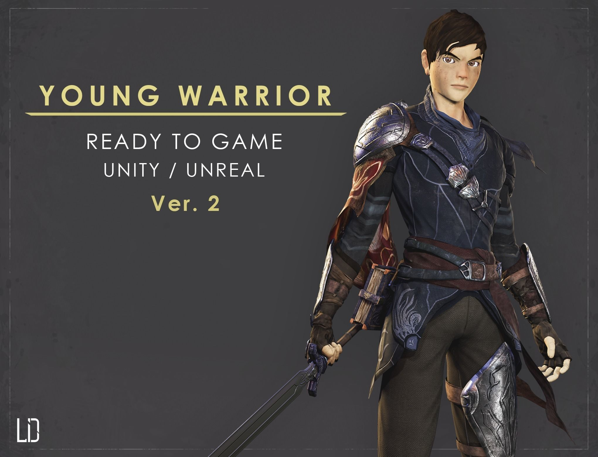 Young Warrior - Ver2 - Ready to Game - Low Poly - 3D Model