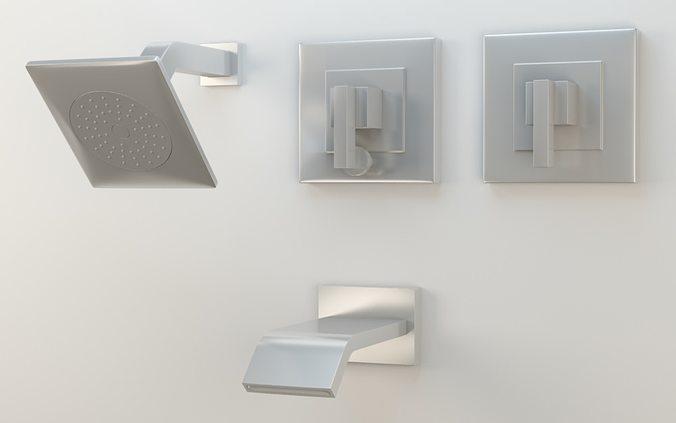 Kohler Loure Rite Temp Bath Shower Trim Set Semi Polished Chrome 3D Model