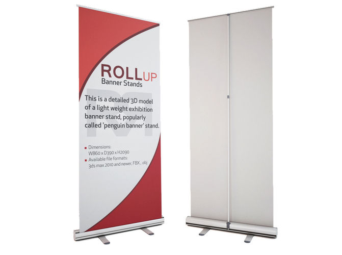 3d model banner stand roll up cgtrader for Stand roll up