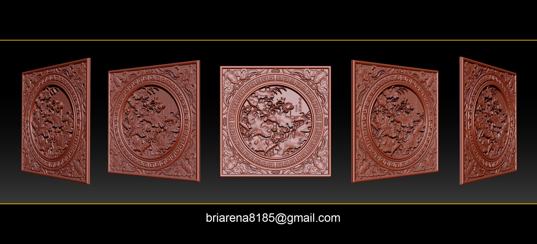 3D STL Models CNC Router - carved Mural Lotus