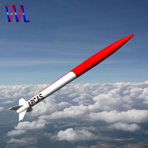 arcas sounding rocket 3d model low-poly obj mtl 3ds fbx dxf blend dae 1