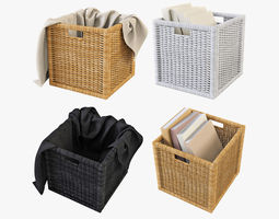 3D Wicker Rattan Basket 07 Set 3 Color