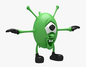Cartoon Alien 001 RIGGED T POSE 3D model