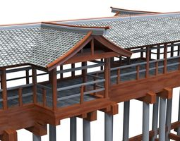 Modular Asian Bridge 3D asset