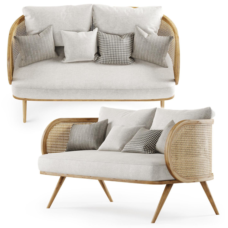 Double wooden rattan sofa CV22 3D model MAX OBJ FBX