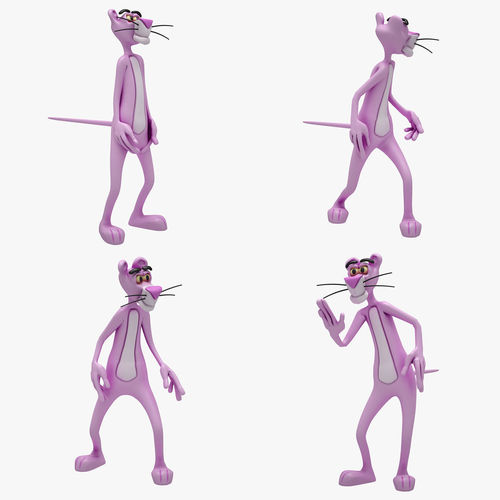 pink panther 4 animation 3d model rigged animated max 1