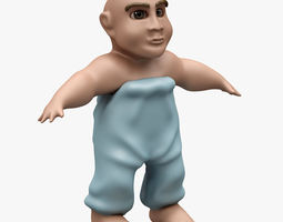 humanoid 3D model Child 001 RIGGED T POSE