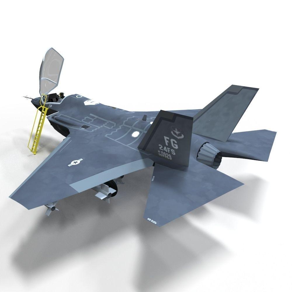 3D Model F-35 Fighter VR / AR / Low-poly FBX MA MB