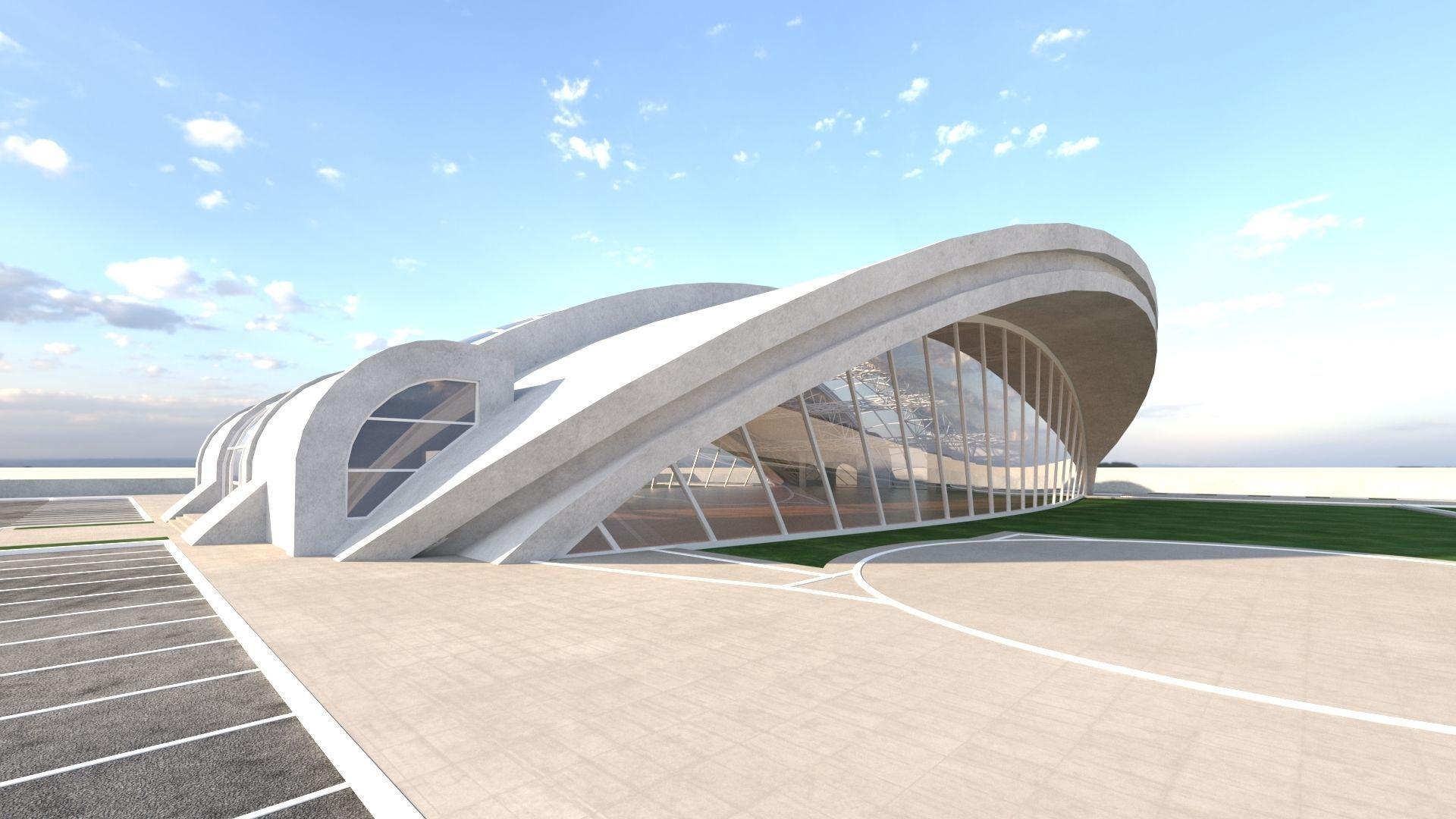 exhibition center exterior and interior