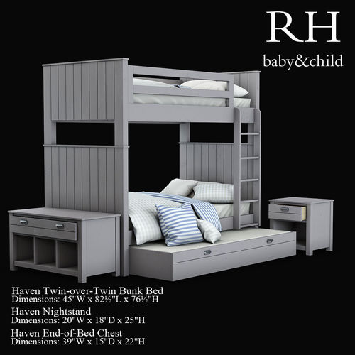 Haven Twin Over Twin Bunk Bed 3d Model Cgtrader