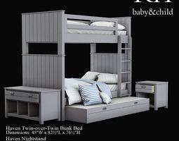 3D Model Ashley Jaidyn Twin Poster Bed VR AR Low Poly