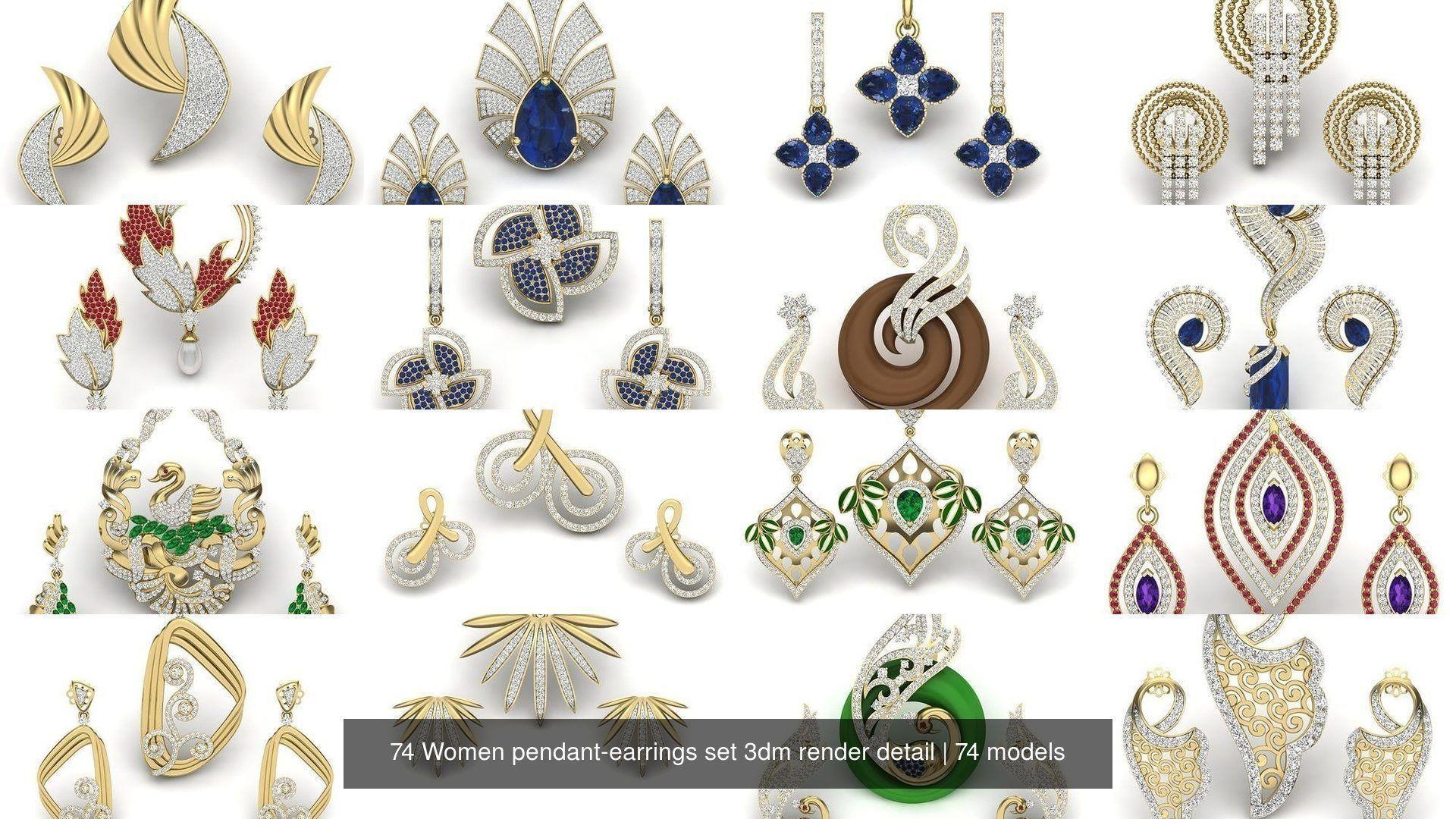 74 Women pendant-earrings set 3dm render detail