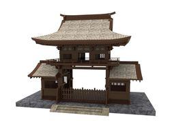 3D model low-poly Japanese Gate
