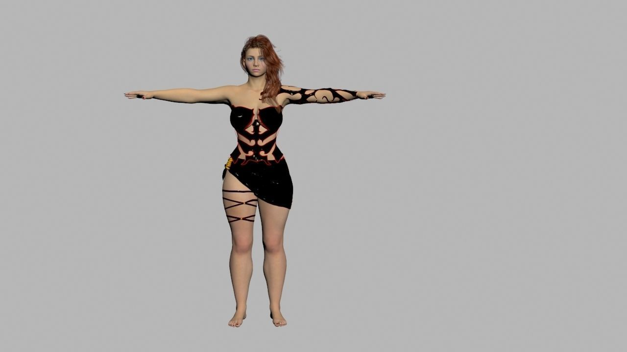 Redhead in Black Dress Rigged High Quality