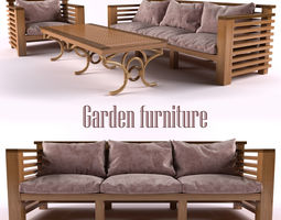 game ready garden furniture rigged 3d model