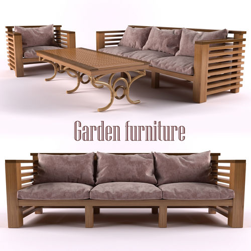 garden furniture 3d model rigged cgtrader. Black Bedroom Furniture Sets. Home Design Ideas
