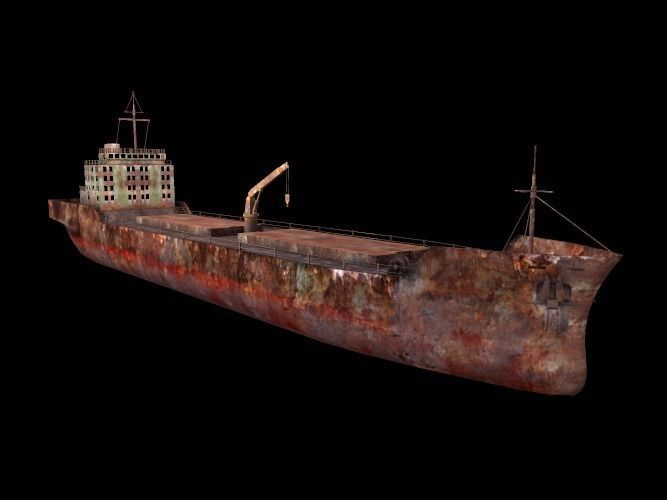 marine cargo ship 3d model low-poly fbx tga 1