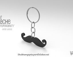 3D printable model Mustache Keychain