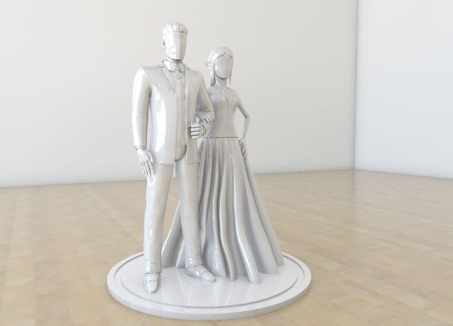 wedding couple cake decor 3d model stl 1