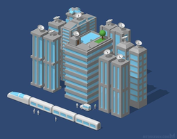 futuristic city or modern city 3d model