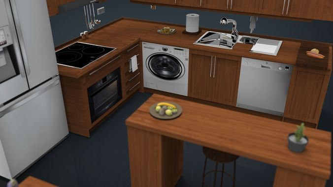 Kitchen set 1 3d model obj fbx ma mb mtl for Model kitchen set sederhana