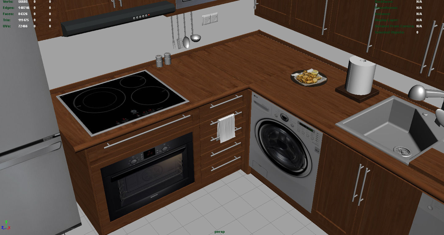 Kitchen set 1 3d model for Model kitchen set sederhana