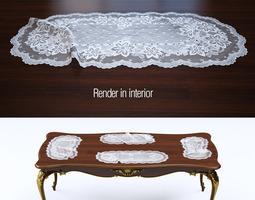 3d model lace doily set 8 items