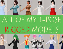 people All of my T pose rigged girls 3D model