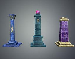 3d asset fantasy pillar collection