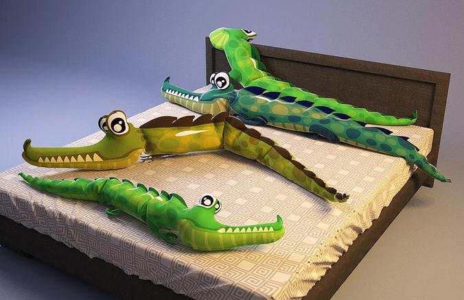 aligator crocodile pillows 3d model max 1