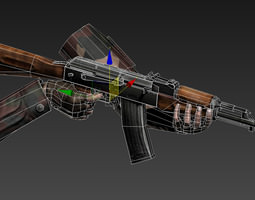 3D asset Animated LowPoly Hand and AK-47