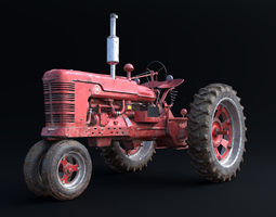 Old Tractor Model with Dirty Textures 3D Model