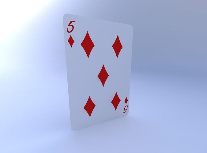 five of diamonds 3d model obj mtl 1
