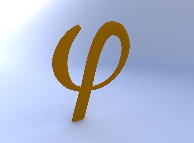 Greek Letter Phi 3d Model Cgtrader