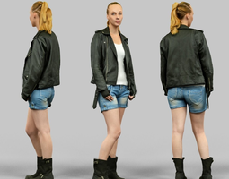 woman wearing leather jacket and shorts 3d asset realtime