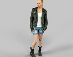 realtime 3d asset woman wearing leather jacket and shorts