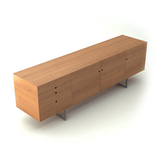 Contemporary wooden sideboard 3d model cgtrader for Sideboard 3d