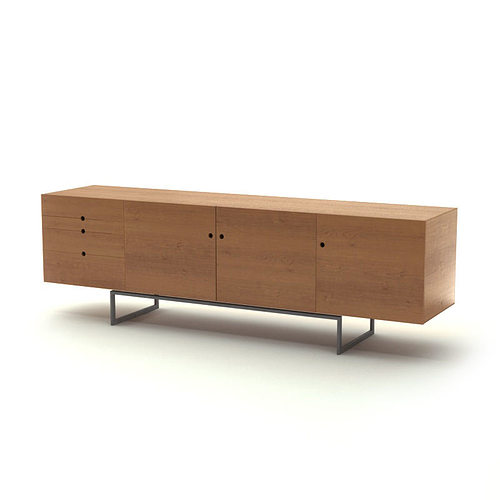 contemporary wooden sideboard 3d model max obj mtl. Black Bedroom Furniture Sets. Home Design Ideas
