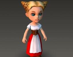 Cartoonish Civilian Female 3D asset