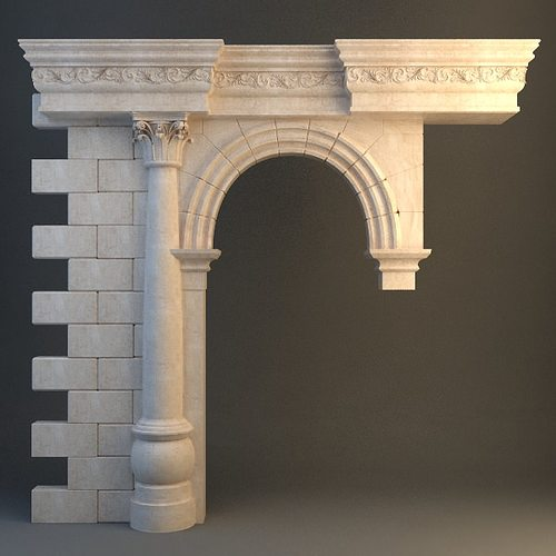3d stone column arch cgtrader for Exterior 3ds max model