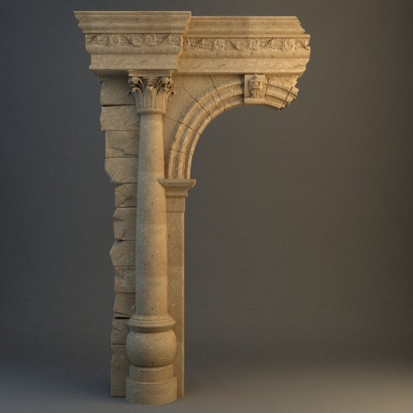 Old Stone Pillars : Old stone column arch d model max obj ds cgtrader