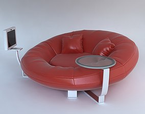 3D Red leather sofa with pillows