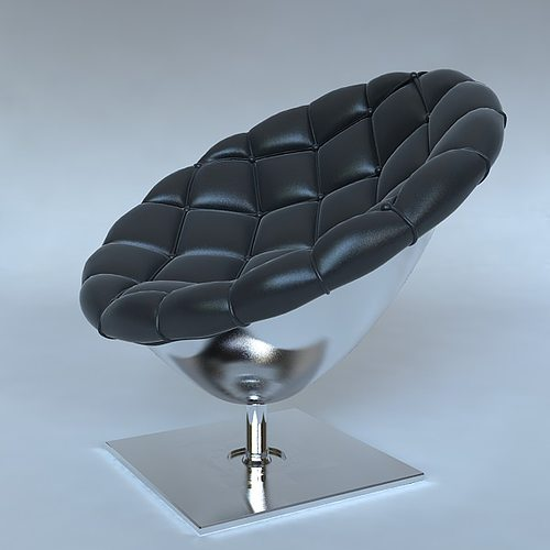 Lovely Pod Chair Quilted Leather Upholstery 3D Model