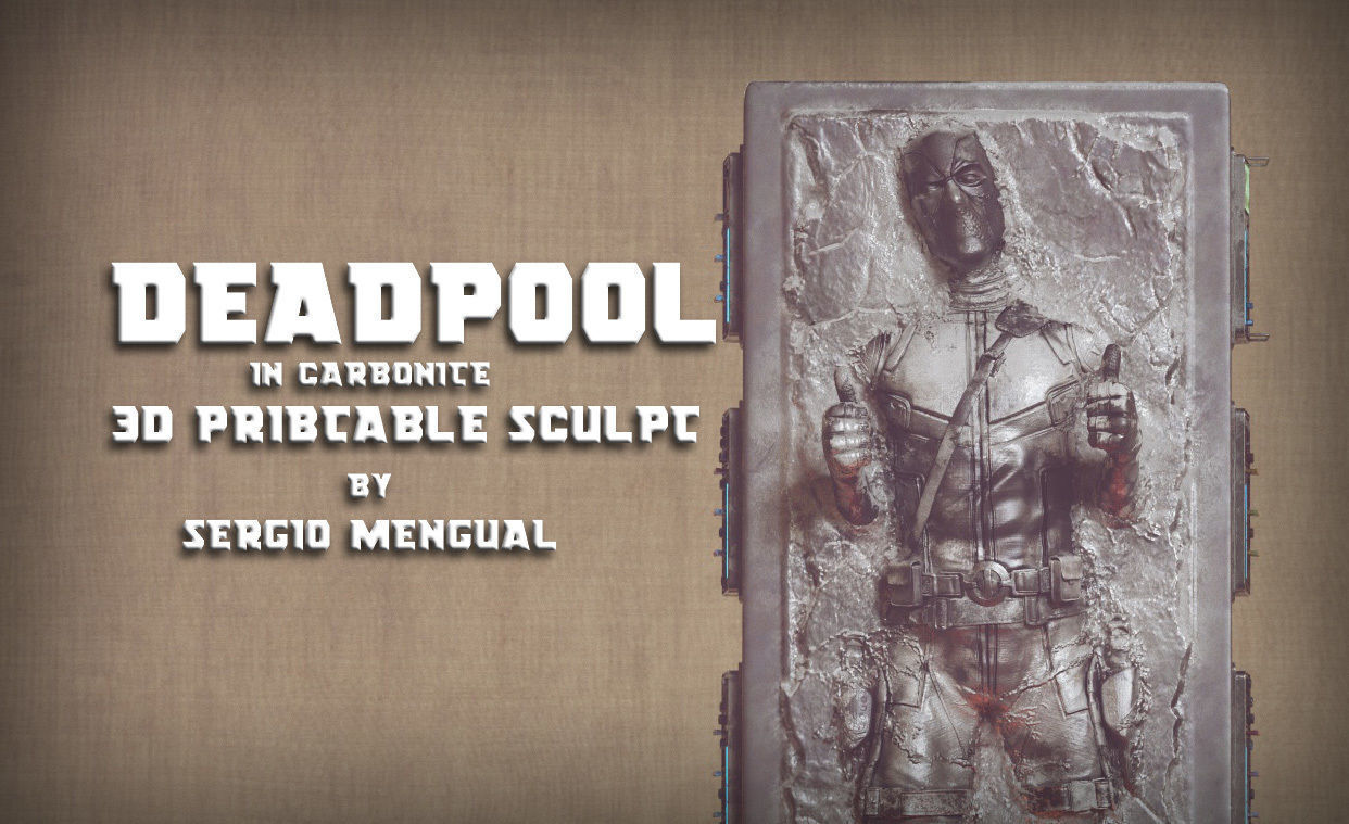 Deadpool in Carbonite 3D Printable Sculpture